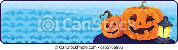 Halloween banner with pumpkins - csp5786906