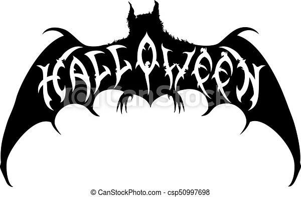 illustration halloween title placed into a bat silhouette handmade text halloween by my own design