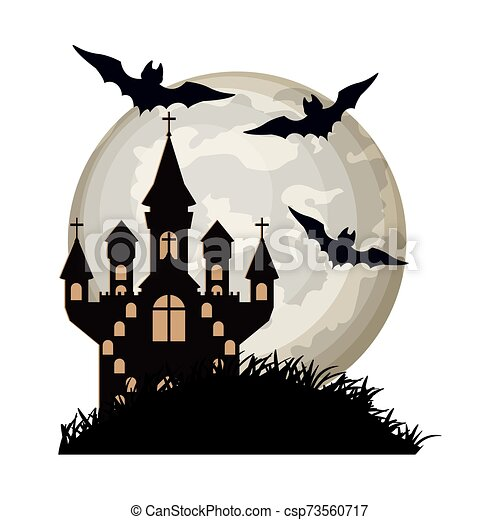 halloween bats flying with castle in night scene - csp73560717