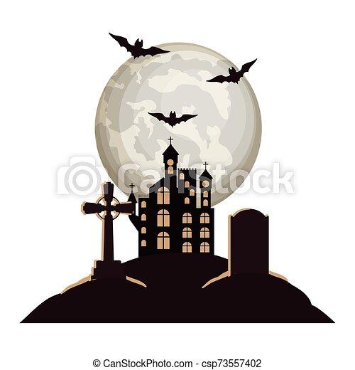 halloween bats flying with castle in cemetery night scene - csp73557402