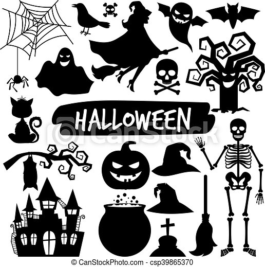 Halloween Vector Black And White.Halloween Black Silhouettes
