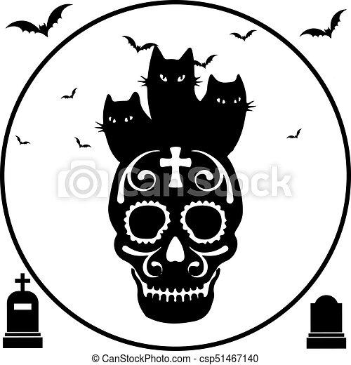 Halloween. black three cats sit on skull, round frame, on a white ...
