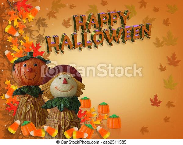 Halloween border pumpkin scarecrow 3d text. Image and... stock ...