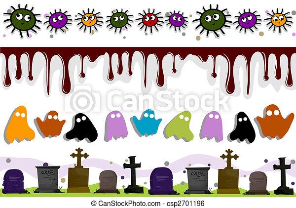 Halloween borders . Halloween border set stock illustration ...