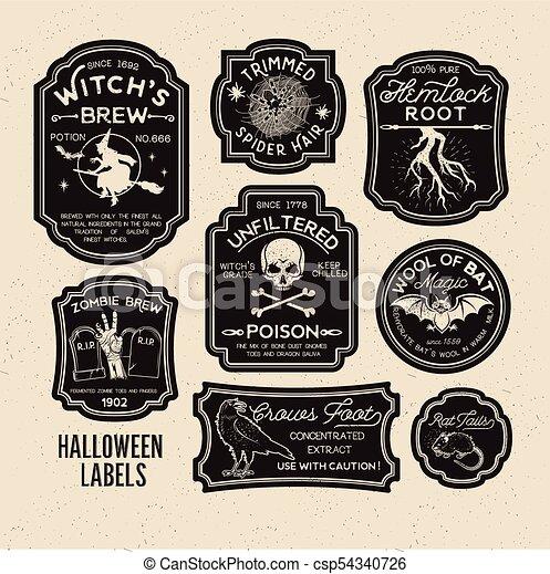 Halloween Bottle Labels Potion Labels Vector Illustration