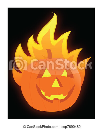 Halloween burning pumpkin - csp7690482