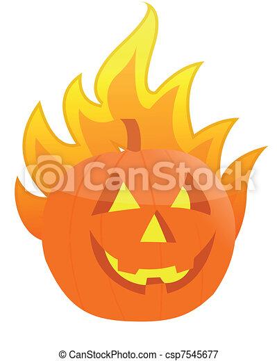 Halloween burning pumpkin - csp7545677