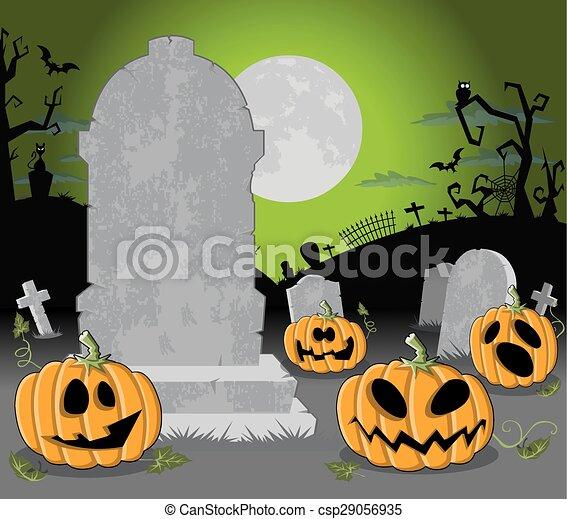 Cementerio de Halloween con calabazas - csp29056935
