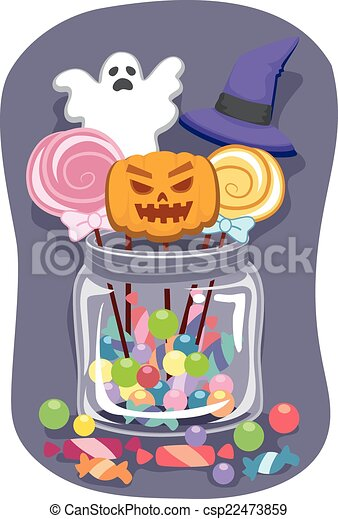 Halloween candy jar. Halloween-themed illustration featuring ...