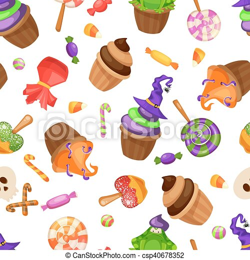 Halloween candy seamless pattern. texture with sweets, candy ...