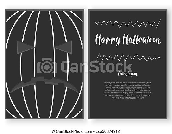 Halloween card template stylized as a carved pumpkin. - csp50874912