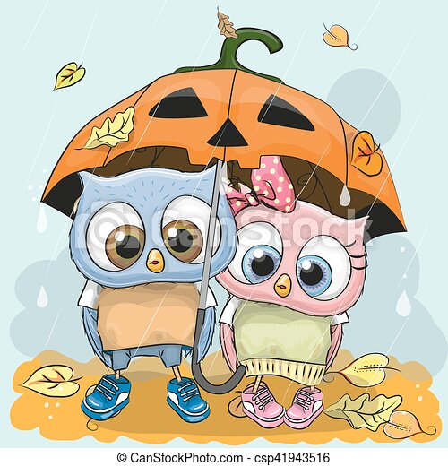 Halloween card two cute cartoon owls with umbrella under the halloween card two cute cartoon owls csp41943516 voltagebd Images