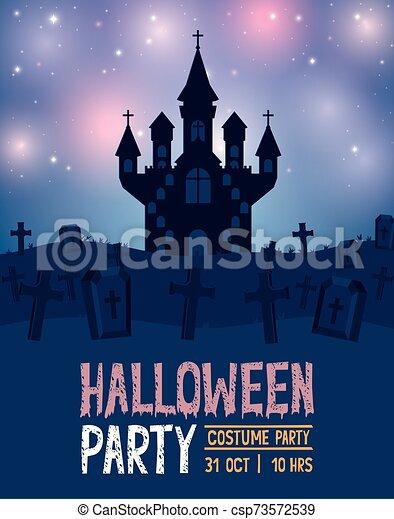 halloween card with dark castle scene - csp73572539