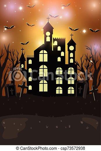 halloween card with dark castle scene - csp73572938