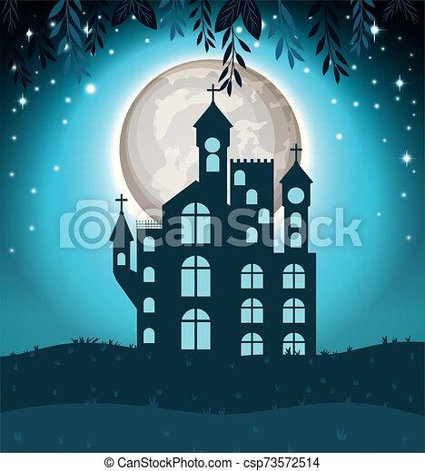 halloween card with dark castle scene - csp73572514