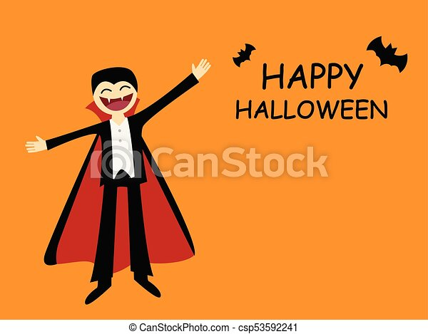Halloween card with friendly dracula in flat - csp53592241