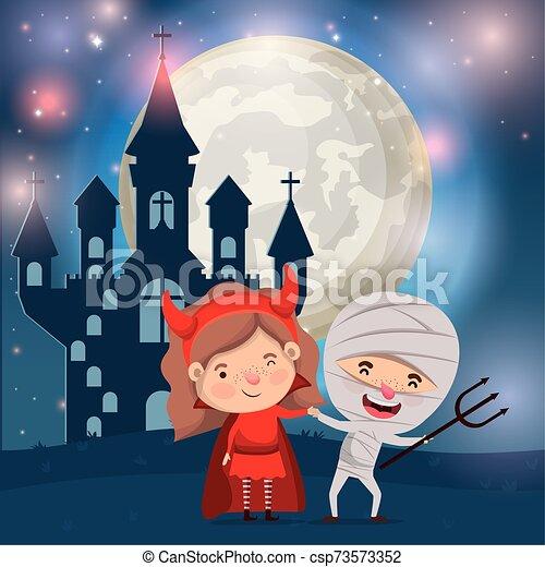 halloween card with kids costumed in dark castle scene - csp73573352