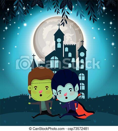 halloween card with kids costumed in dark castle scene - csp73572481