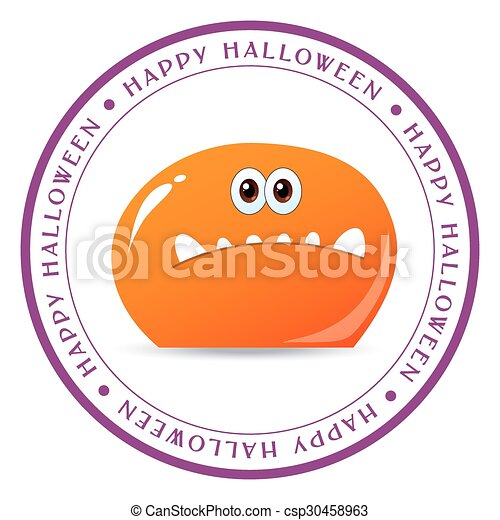 halloween cards with cute cartoon monsters csp30458963