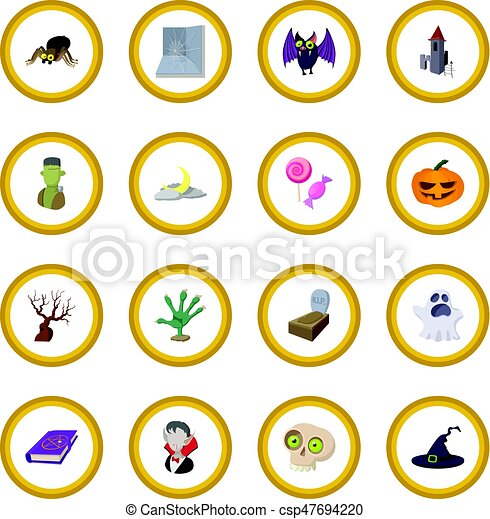 Halloween cartoon icon circle - csp47694220