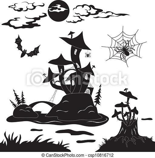 halloween cartoon landscape magic castle mushroom spider bat