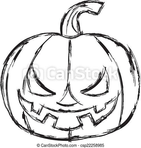 Halloween Pumpkin Drawing.Halloween Cartoon Pumpkin Vector Illustration