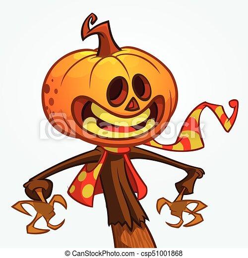 Halloween Pumpkin Cartoon Images.Halloween Cartoon Scarecrow With Pumpkin Head Vector Cartoon Character Isolated On White