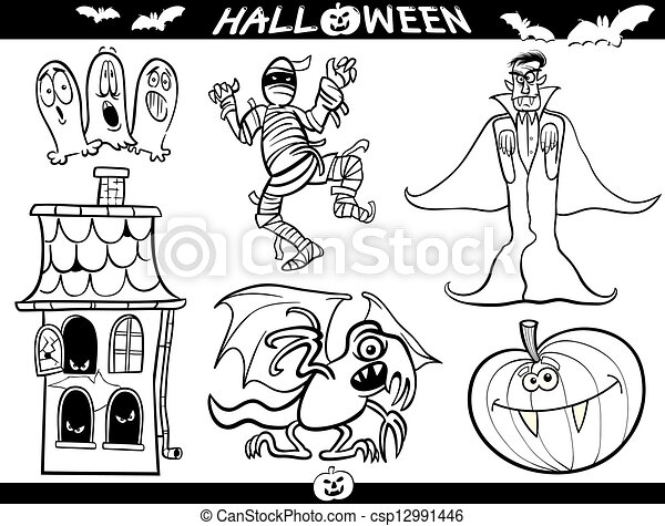 Halloween Cartoon Themes for Coloring Book - csp12991446