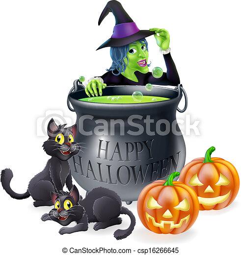 Halloween Cartoon Witch Scene - csp16266645