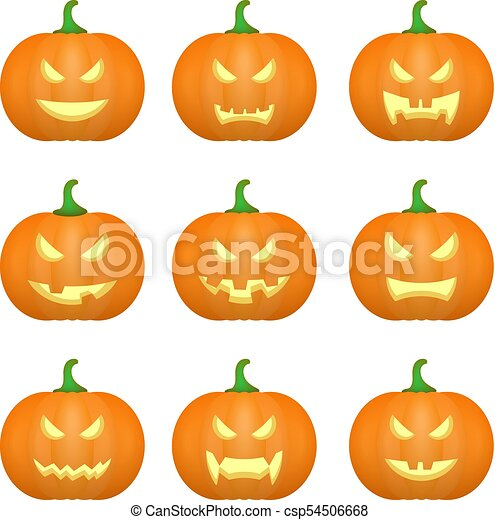 Halloween Carved Pumpkins Carved Face Emotions Set Vector