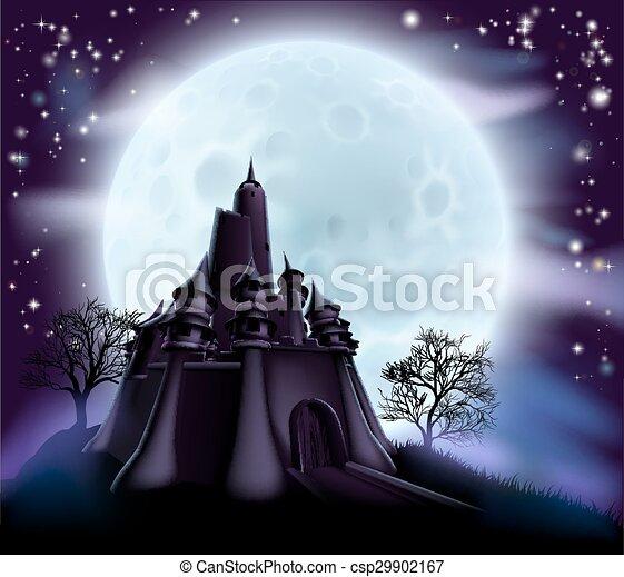Halloween Castle Background - csp29902167