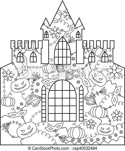 Halloween castle coloring vector silhouette stencil template halloween castle coloring csp40532494 maxwellsz