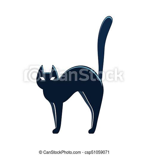 Halloween Cat Illustration Black Cat Colorful Scary Halloween