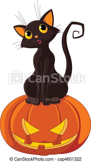 Halloween Cat on pumpkin - csp4601322
