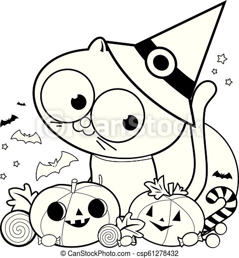 Halloween cat, pumpkins and treats. Vector black and white coloring page