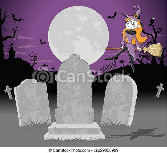Cementerio de Halloween con bruja - csp29056909