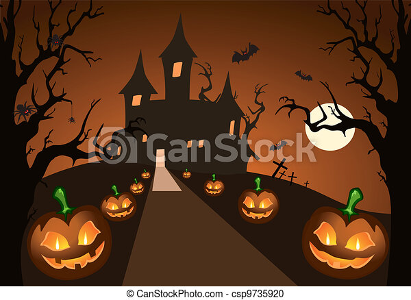 halloween, château, hanté, citrouille - csp9735920