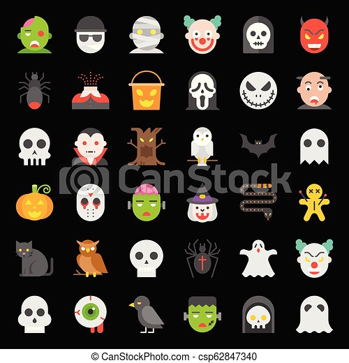 Halloween character vector icon set in flat design - csp62847340