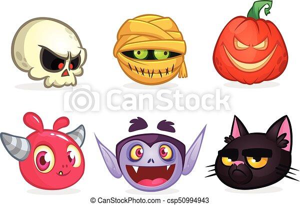halloween characters icon set cartoon heads of skull mummy