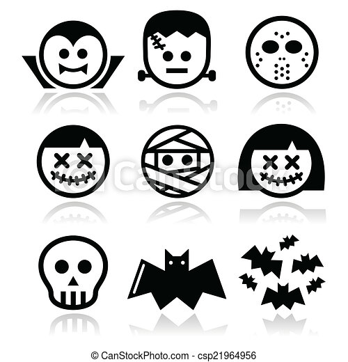 Halloween characters icons. Vector icons set of creepy or ...
