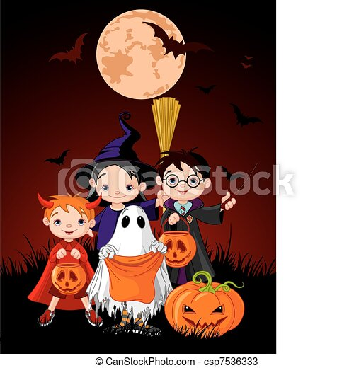 Halloween children trick or treati - csp7536333