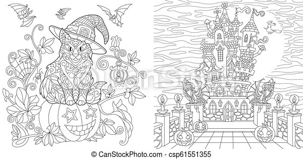Halloween coloring page. Cat in a hat, halloween pumpkin, flying ... | 241x450