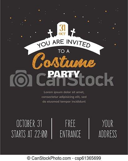 Halloween Costume Party Invitation Halloween Design Template Vector Illustration Halloween Costume Party Invitation