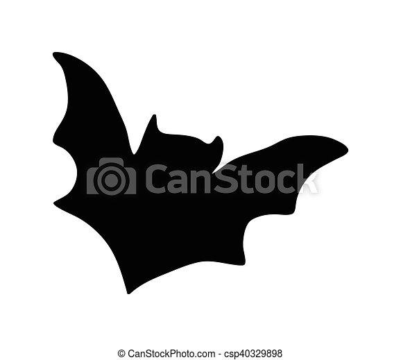 halloween creepy scary bat silhouette vector symbol icon design