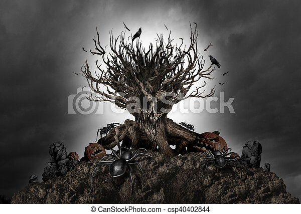 Halloween Creepy Tree Background