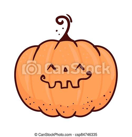 halloween cute pumpkin icon in white background - csp84746335