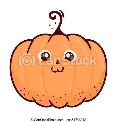 halloween cute pumpkin icon, on white background - csp84746313