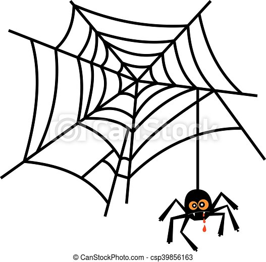 halloween cute spider on web vector isolated on white clip art rh canstockphoto com spider web clipart black and white spider web clipart transparent