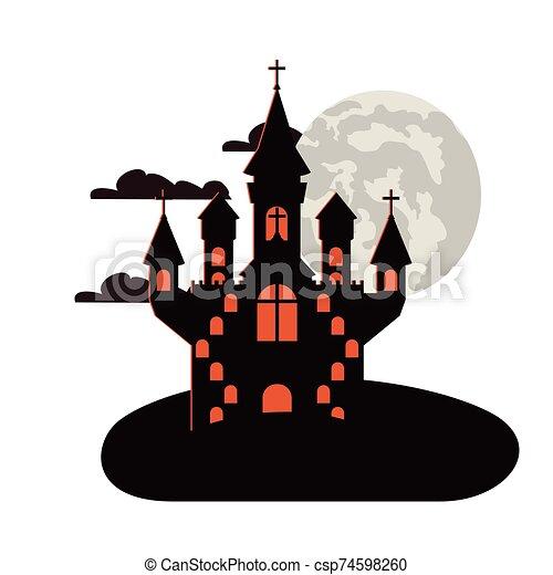halloween dark castle with moon night scene icon - csp74598260
