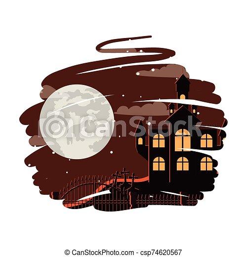 halloween dark castle with moon scene - csp74620567